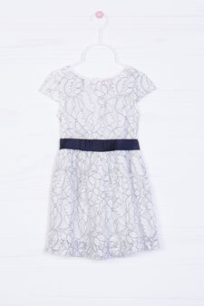 Patterned dress with belt, Milky White, hi-res