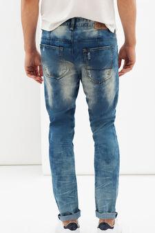 Jeans slim fit con strappi e abrasioni, Lavaggio chiaro, hi-res