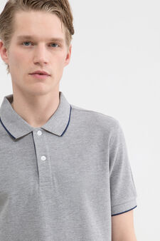 Solid colour polo shirt in 100% cotton, Grey, hi-res