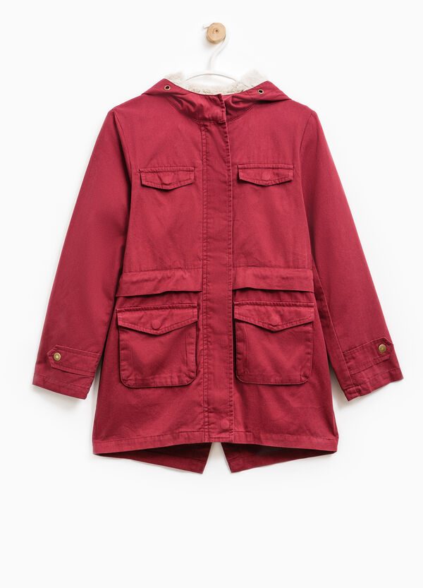 Solid colour parka with fur lining | OVS