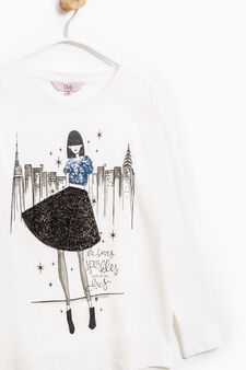 T-shirt with sequins, patches and glitter, Milky White, hi-res