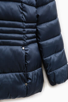 Solid colour quilted down jacket with zip, Blue, hi-res