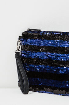 Striped clutch with sequins, Black/Blue, hi-res