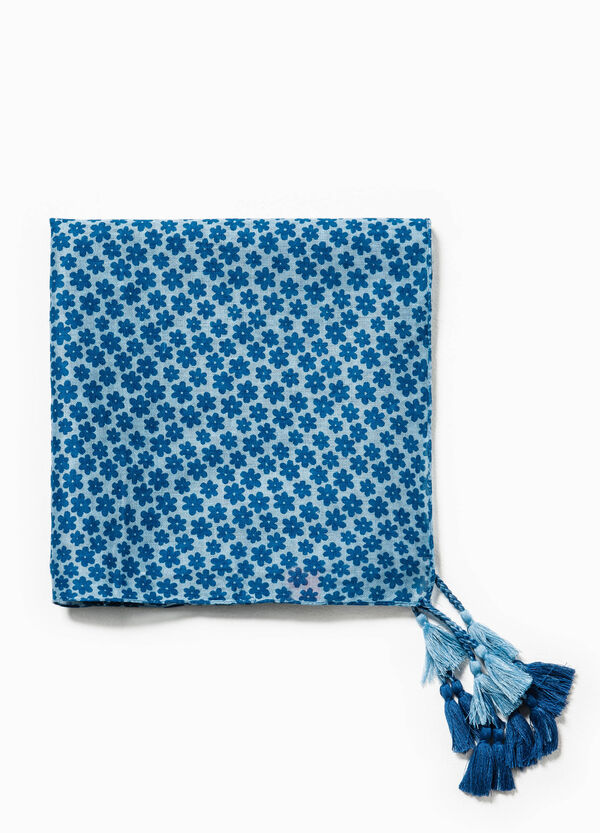 Pashmina with floral pattern and tassels   OVS