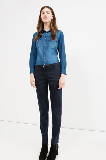 Pantaloni chino stretch tinta unita, Blu navy, hi-res