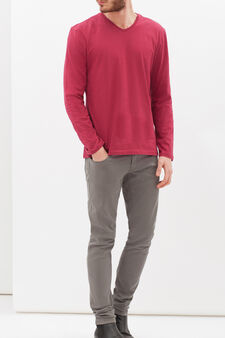 Long-sleeved T-shirt with V neck, Red, hi-res
