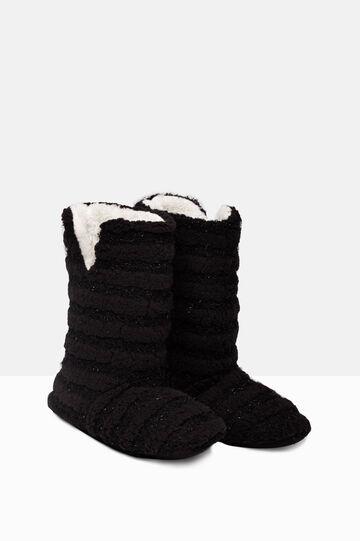 Solid colour slipper boots, Black, hi-res