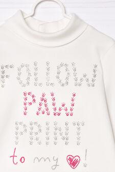 T-shirt puro cotone collo alto, Bianco latte, hi-res
