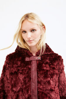 Faux fur jacket with leather look insert, Claret Red, hi-res