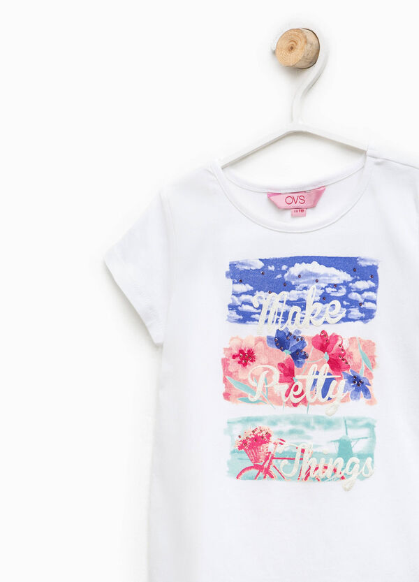 Round neck T-shirt with print and diamantés | OVS