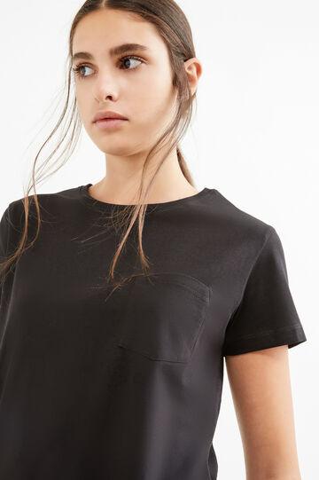 100% cotton T-shirt with side splits, Black, hi-res