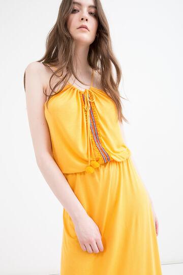 Long dress in 100% viscose with ties, Orange, hi-res