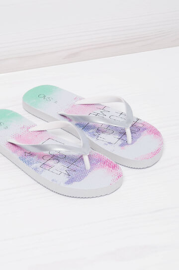 Printed thong sandals, White, hi-res