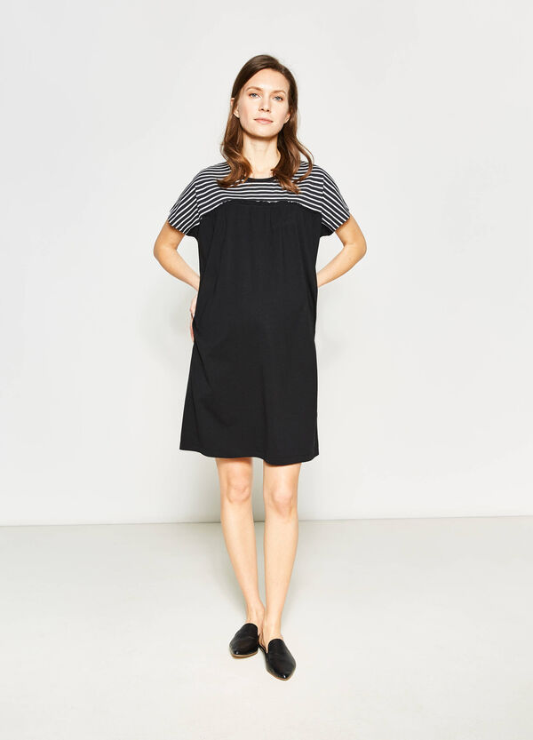 MUM dress with striped inserts and flounces | OVS