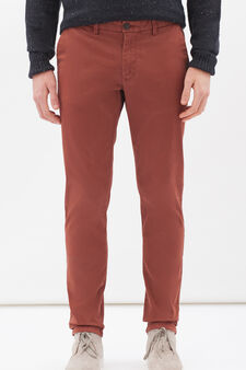 Stretch cotton chinos, Brick Red, hi-res