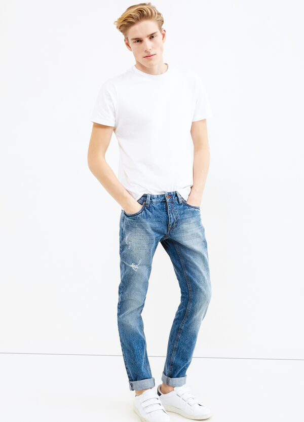 Slim-fit, worn-effect, ripped jeans | OVS