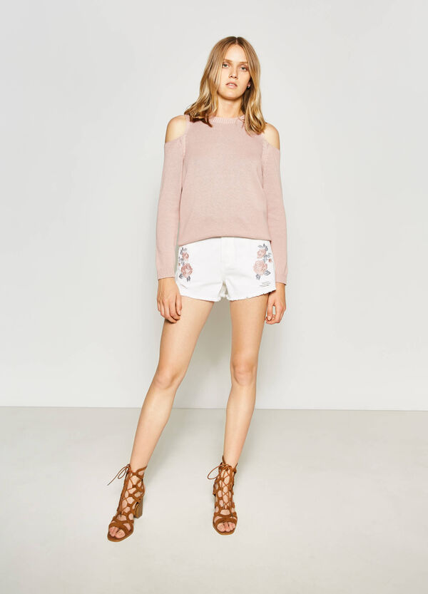 Ripped shorts with embroidery | OVS