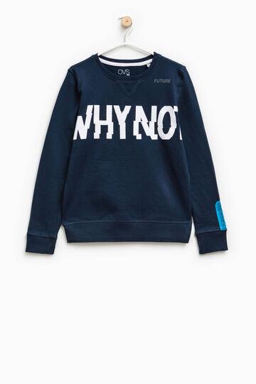 100% cotton printed sweatshirt, Dark Blue, hi-res