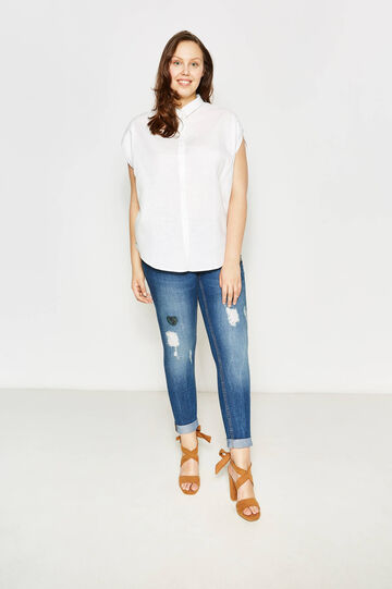 Curvy blouse in linen with bluff collar, White, hi-res