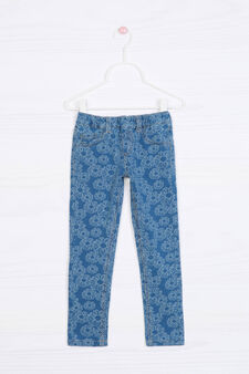 Stretch jeggings with pattern in contrasting colour., Soft Blue, hi-res