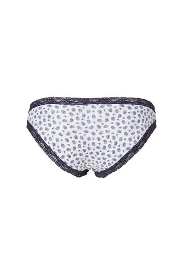 Stretch cotton printed briefs with lace frill, Grey, hi-res