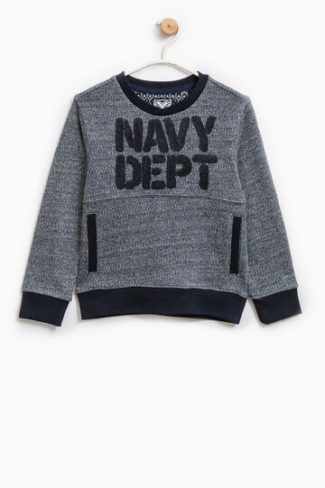 100% cotton sweatshirt with patch, Deep Blue, hi-res