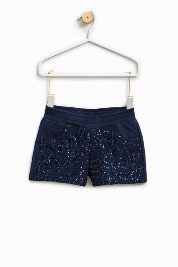 Stretch cotton shorts with sequins, Blue, hi-res