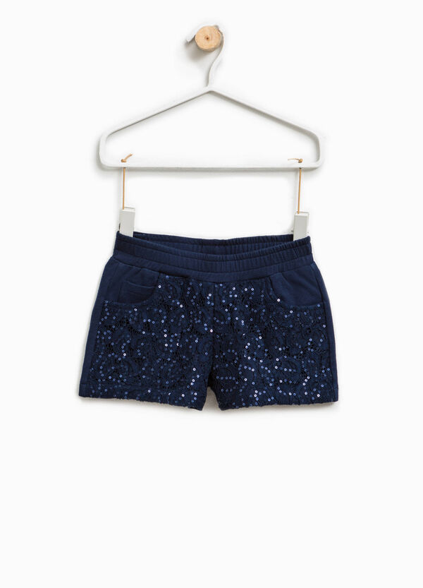 Shorts in cotone stretch con paillettes | OVS