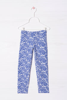 Cotton blend patterned jeggings, Blue, hi-res