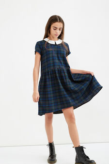 Teen check dress in 100% cotton, Black, hi-res