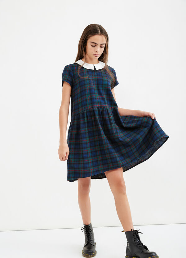 Teen check dress in 100% cotton | OVS