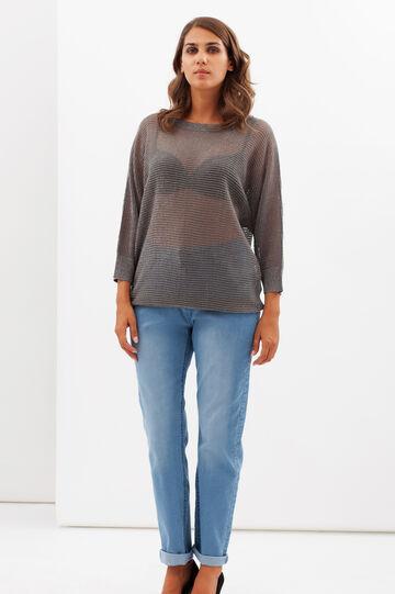 Curvy T-shirt with lurex threads., Grey/Silver, hi-res