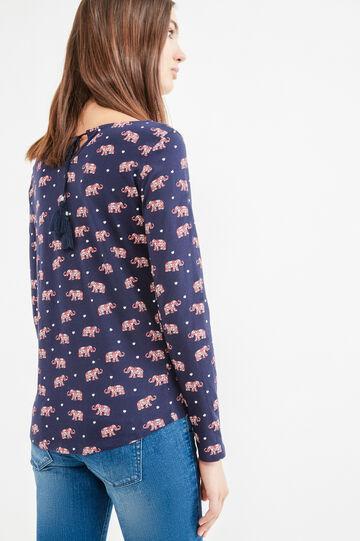 T-shirt jersey di cotone fantasia, Blu navy, hi-res