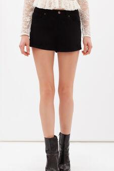 Plain stretch denim shorts, Black, hi-res