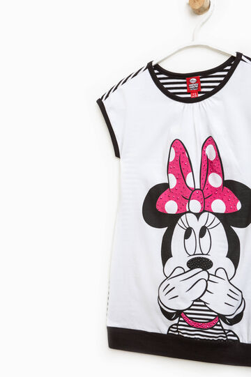 Dress with striped back and Minnie Mouse print, White/Black, hi-res