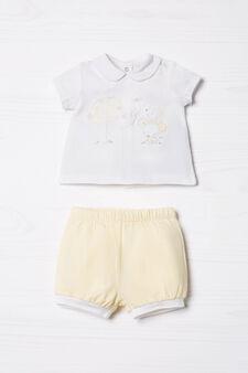 T-shirt and shorts set, White/Yellow, hi-res