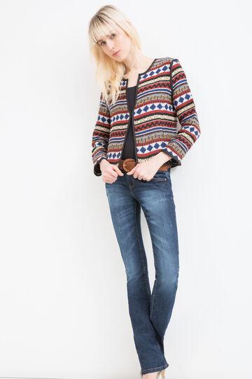 Viscose blazer with ethnic print, Multicolour, hi-res