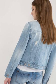 Worn-effect denim jacket, Light Wash, hi-res