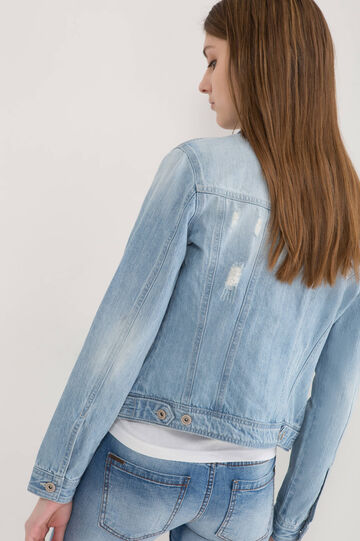 Worn-effect denim jacket, Light Wash, hi-res