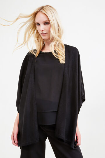 Cape with buttonless opening, Black, hi-res