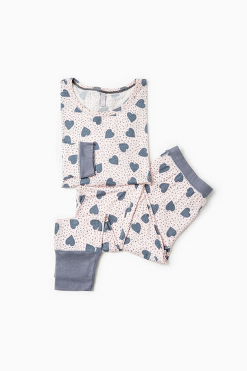 Stretch viscose pyjamas with hearts, Grey/Pink, hi-res