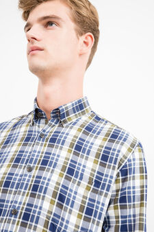 Regular-fit casual shirt with elbow patches, Blue/Green, hi-res