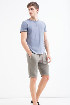 Solid colour 100% cotton Bermuda shorts, Army Green, hi-res