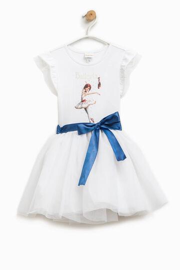 Sleeveless dress with Ballerina print, White, hi-res
