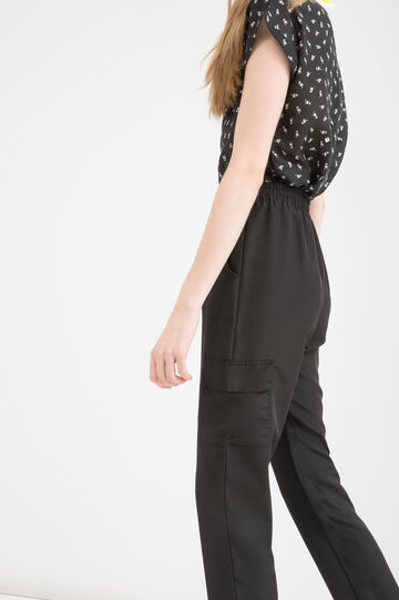 Solid colour high-waisted trousers, Black, hi-res