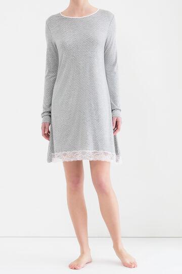 100% viscose nightshirt., Grey Marl, hi-res