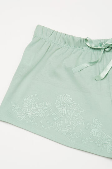 Embroidered pyjama shorts, Green, hi-res
