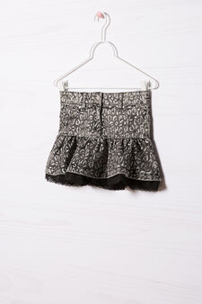 Stretch skirt with lace, Black, hi-res