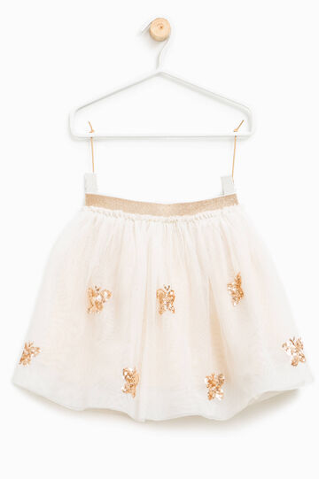 Tulle skirt with glitter and sequins, Milky White, hi-res