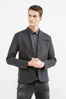 Two-button solid colour casual jacket, Dark Grey, hi-res